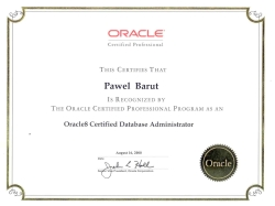Certyfikat: Oracle Certified Professional - Database Administrator Oracle 8, 2000